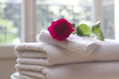 タオルと薔薇
