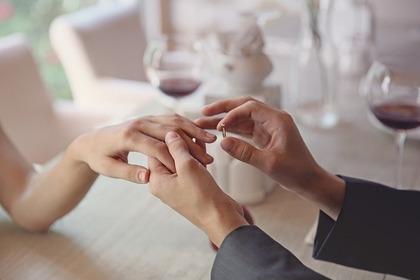 結婚指輪をするカップル