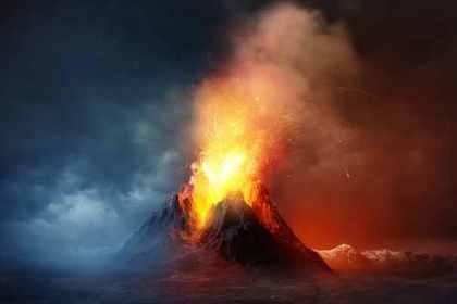 噴火している山