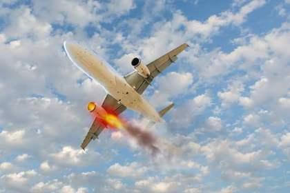 燃える飛行機