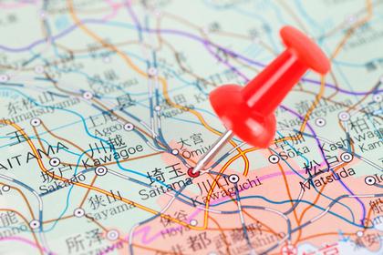 埼玉に目印がある日本地図